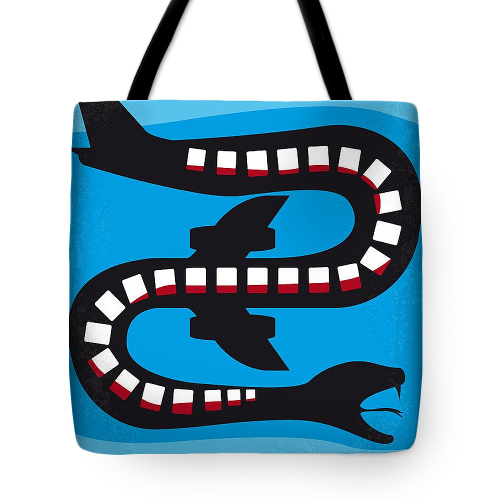 Snakes Tote Bag featuring the digital art No501 My Snakes On A Plane Minimal Movie Poster by Chungkong Art