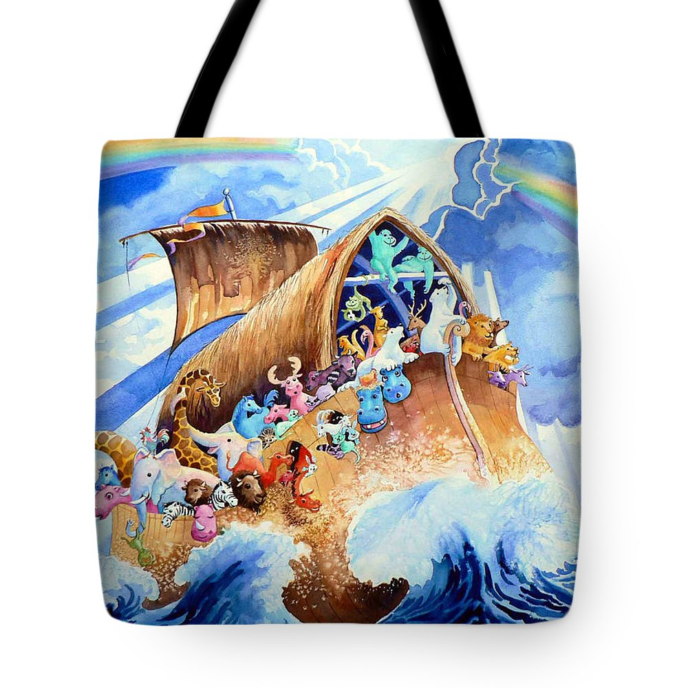 Noahs Arc Mural Tote Bag featuring the painting Noahs Ark by Hanne Lore Koehler