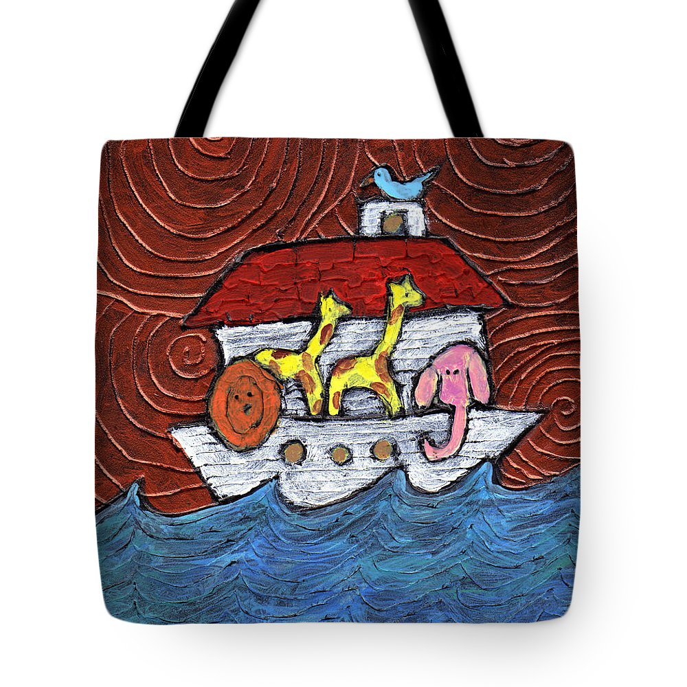 Noah Tote Bag featuring the painting Noahs Ark With Blue Bird by Wayne Potrafka