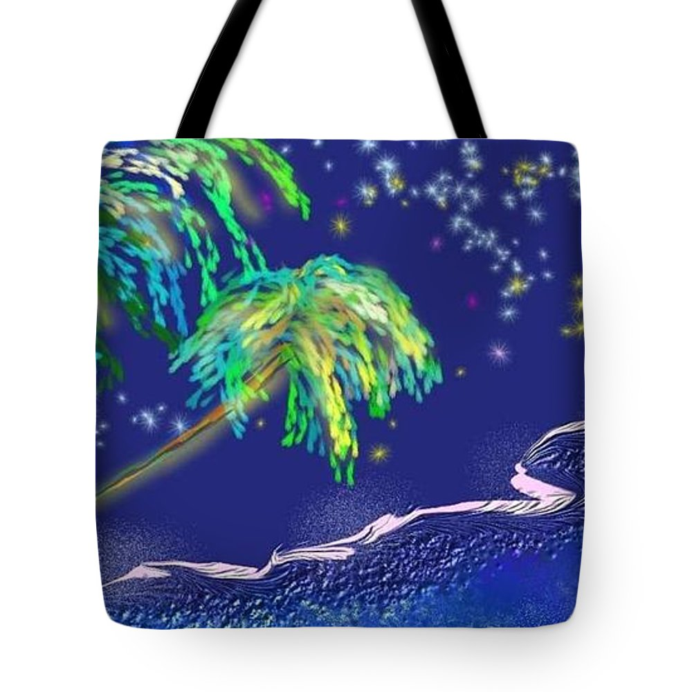 Palms Tote Bag featuring the painting Noche Tropical by The Art of Alice Terrill
