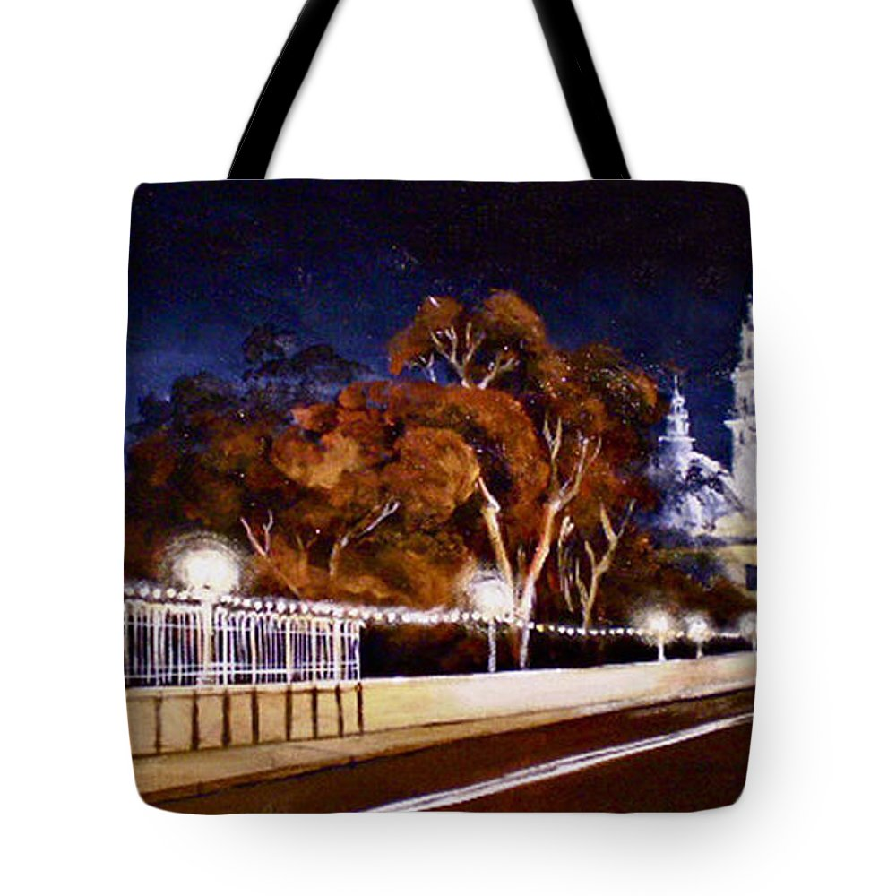Cityscapes Tote Bag featuring the painting Nocturnal Cabrillo by Duke Windsor