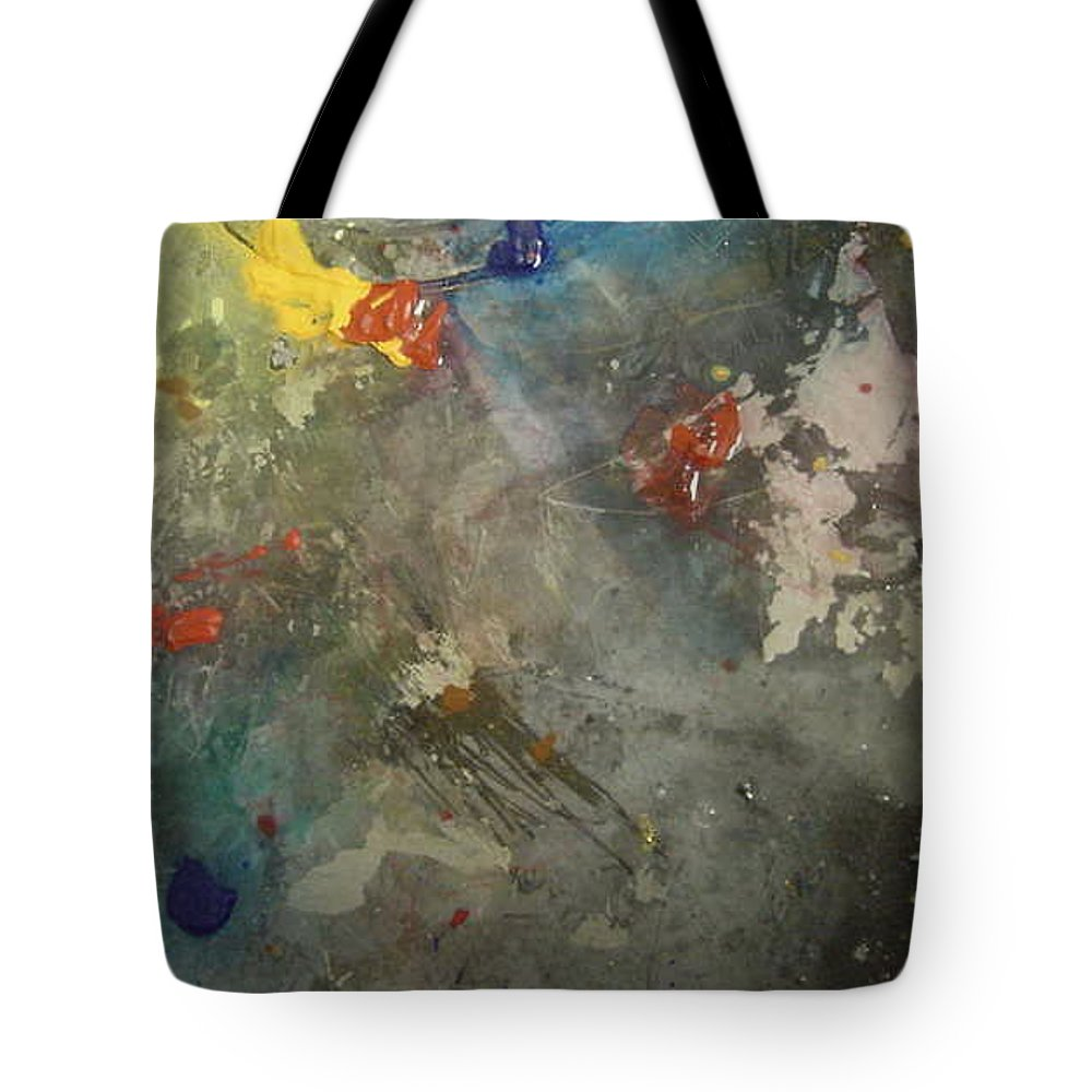 Yellows Blues Tote Bag featuring the painting Nonrepresentational Color Study by Robin Miller-Bookhout