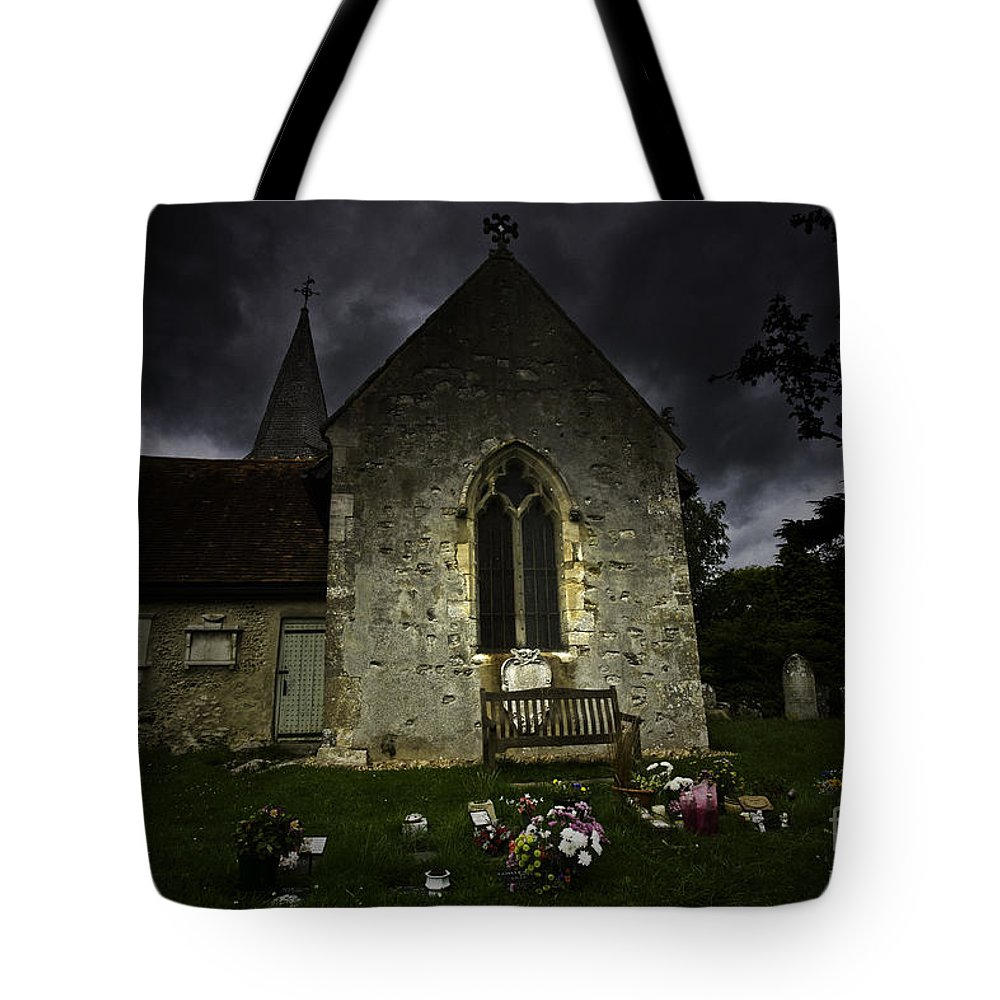 Church Tote Bag featuring the photograph Norman Church At Lissing Hampshire England by Avalon Fine Art Photography
