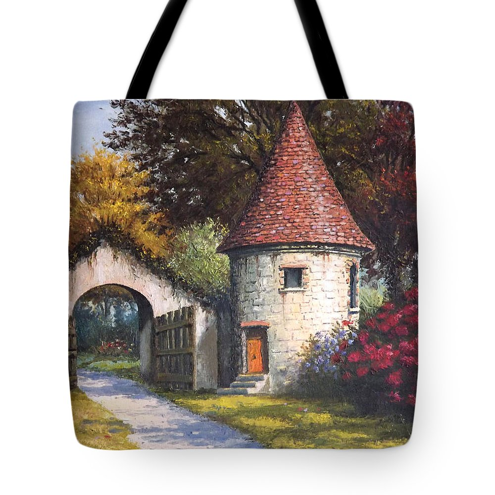 Landscape Tote Bag featuring the painting Normandy Garden by Sean Conlon