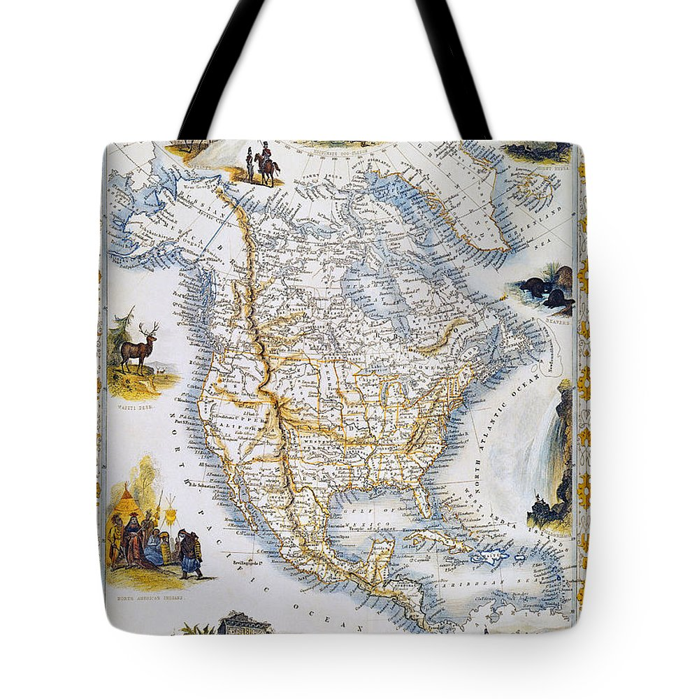 1851 Tote Bag featuring the photograph North American Map, 1851 by Granger