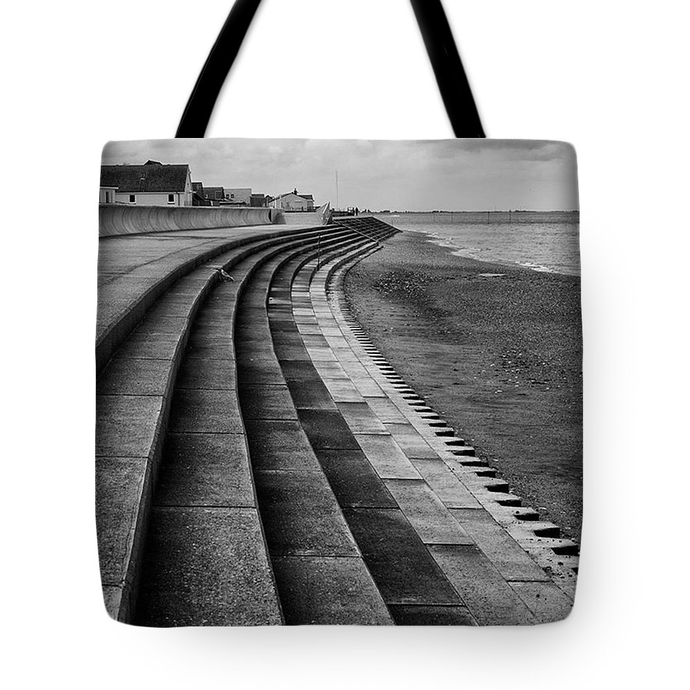 Monochromephotography Tote Bag featuring the photograph North Beach, Heacham, Norfolk, England by John Edwards