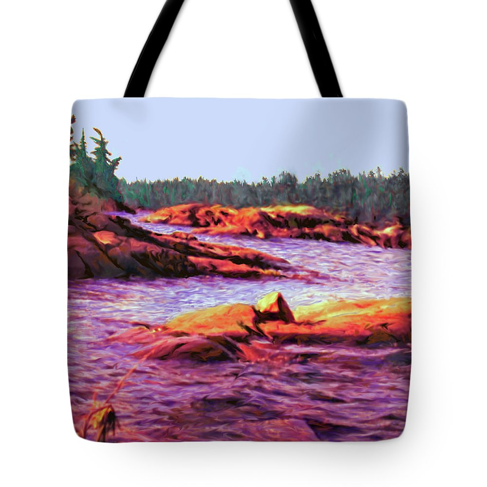 Wilderness Tote Bag featuring the digital art North Channel Islands by Ian MacDonald