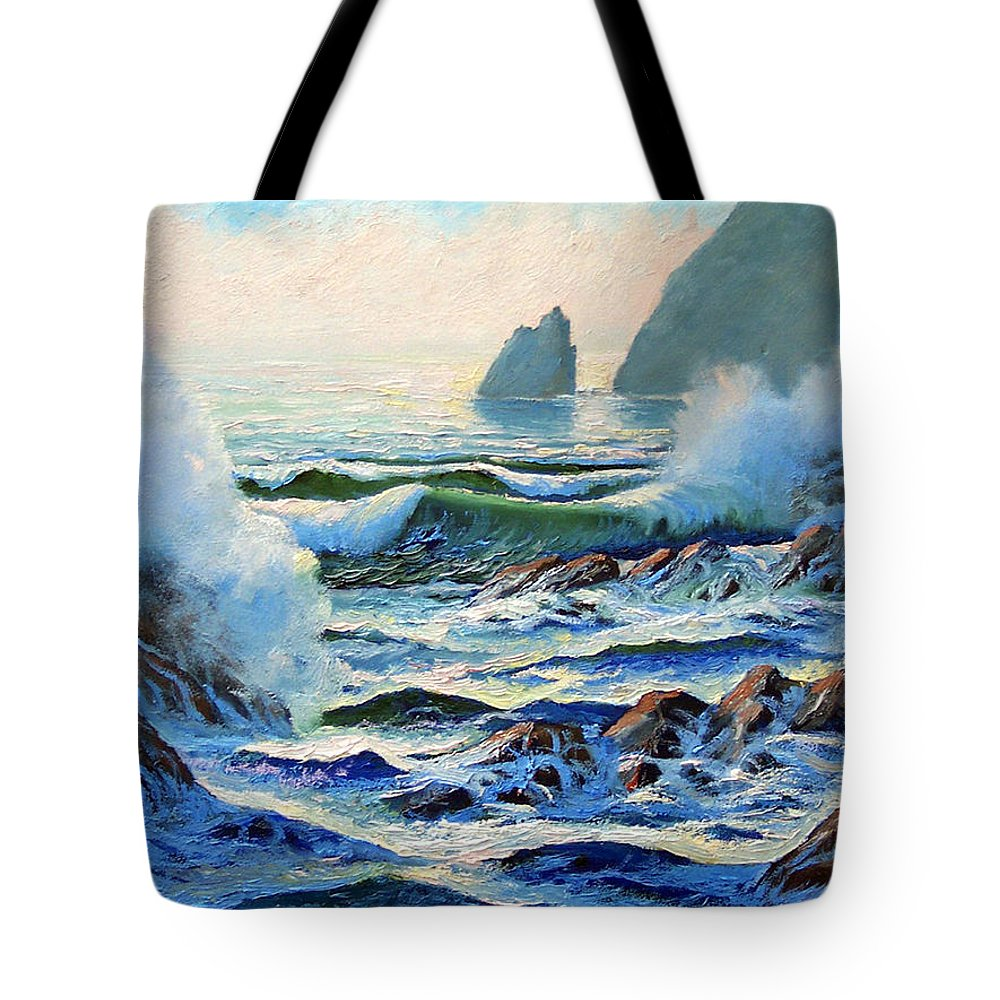Seascape Tote Bag featuring the painting North Coast Surf by Frank Wilson