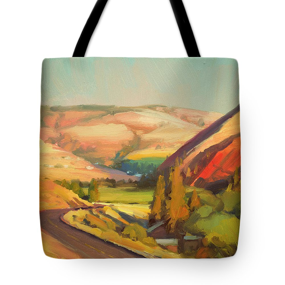 Country Tote Bag featuring the painting North Fork Touchet by Steve Henderson