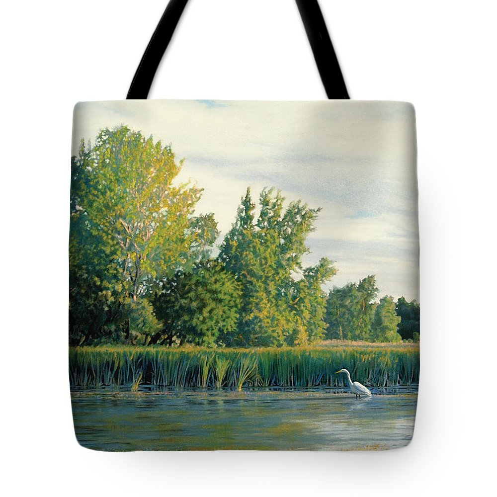 Great Egret Tote Bag featuring the drawing North Of The Grade-great Egret by Bruce Morrison