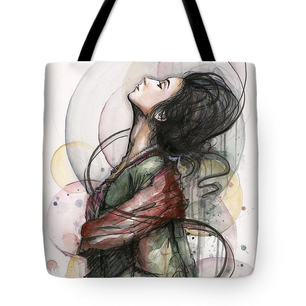Watercolor Tote Bag featuring the painting Beautiful Lady by Olga Shvartsur