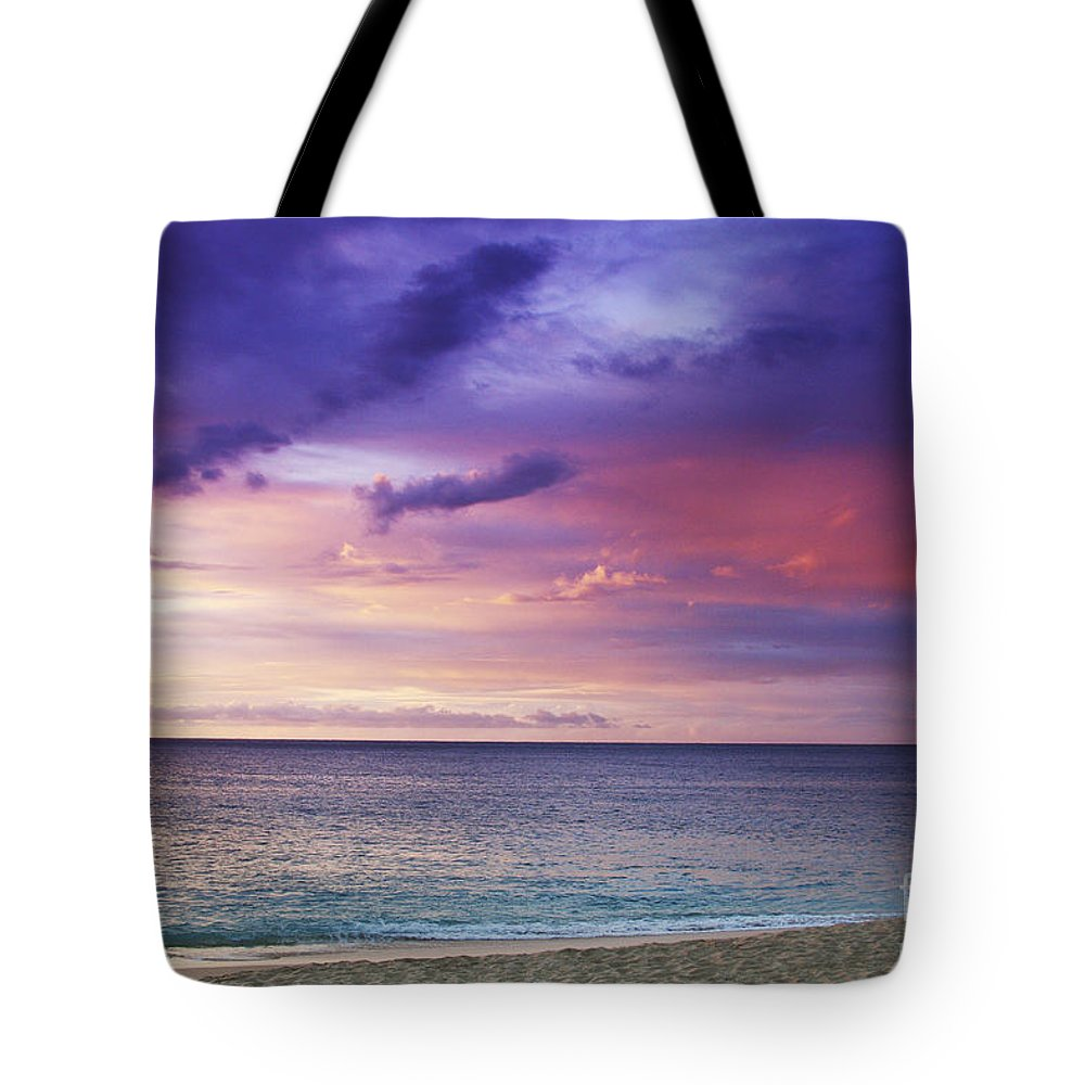 Beachfront Tote Bag featuring the photograph North Shore Beach Sunset by Vince Cavataio - Printscapes