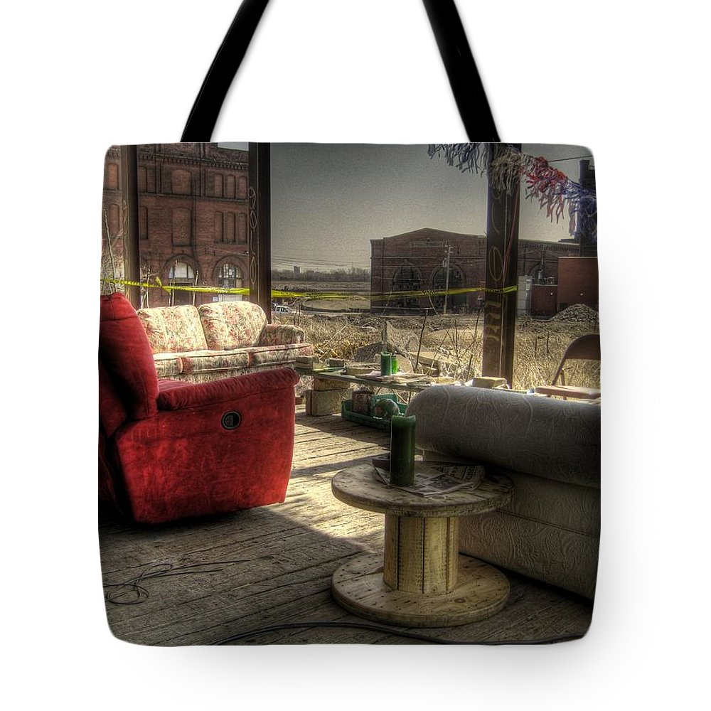 Hdr Tote Bag featuring the photograph North St. Louis Porch by Jane Linders