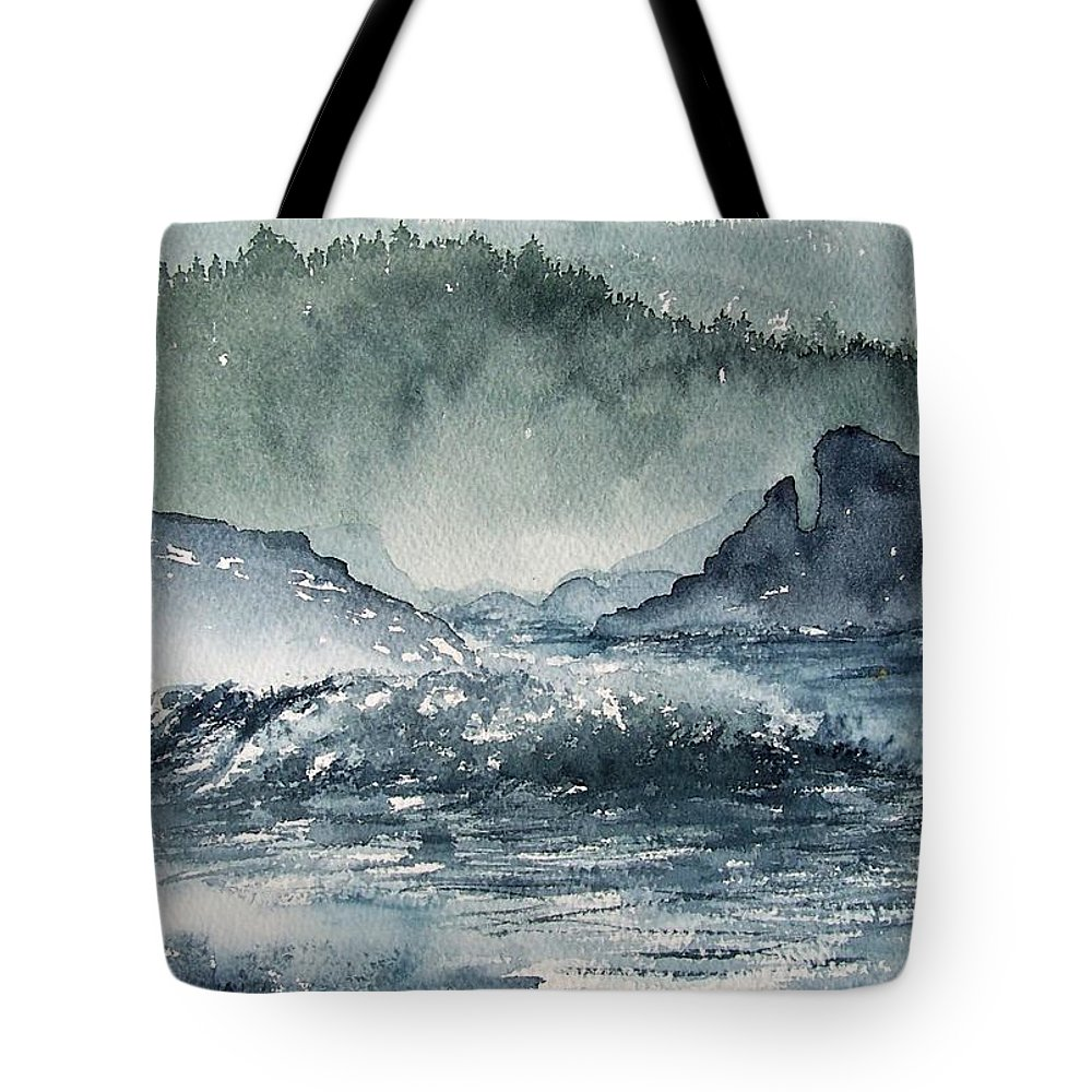 Ocean Tote Bag featuring the painting Northern California Coast by Gale Cochran-Smith