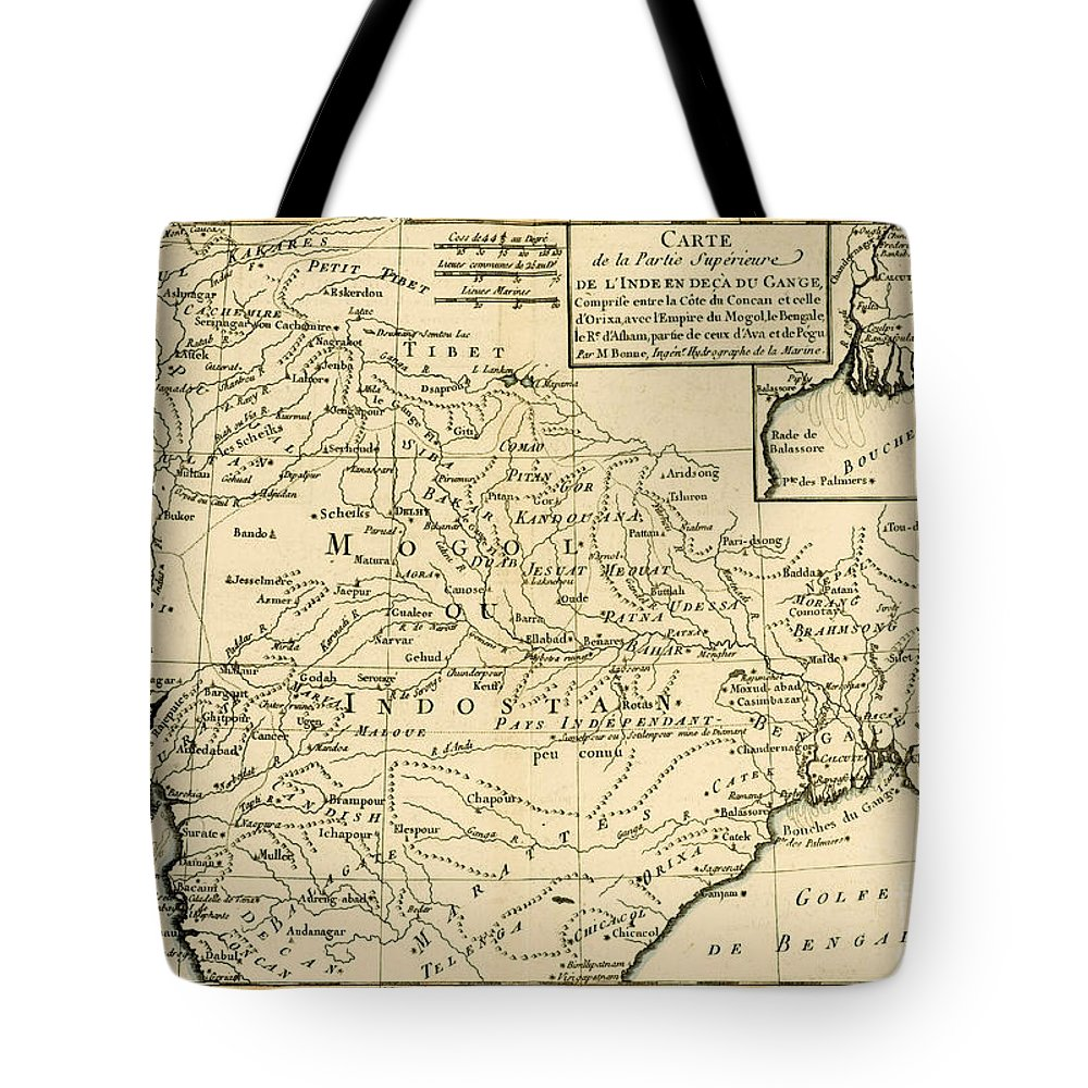 Maps Tote Bag featuring the drawing Northern India by Guillaume Raynal