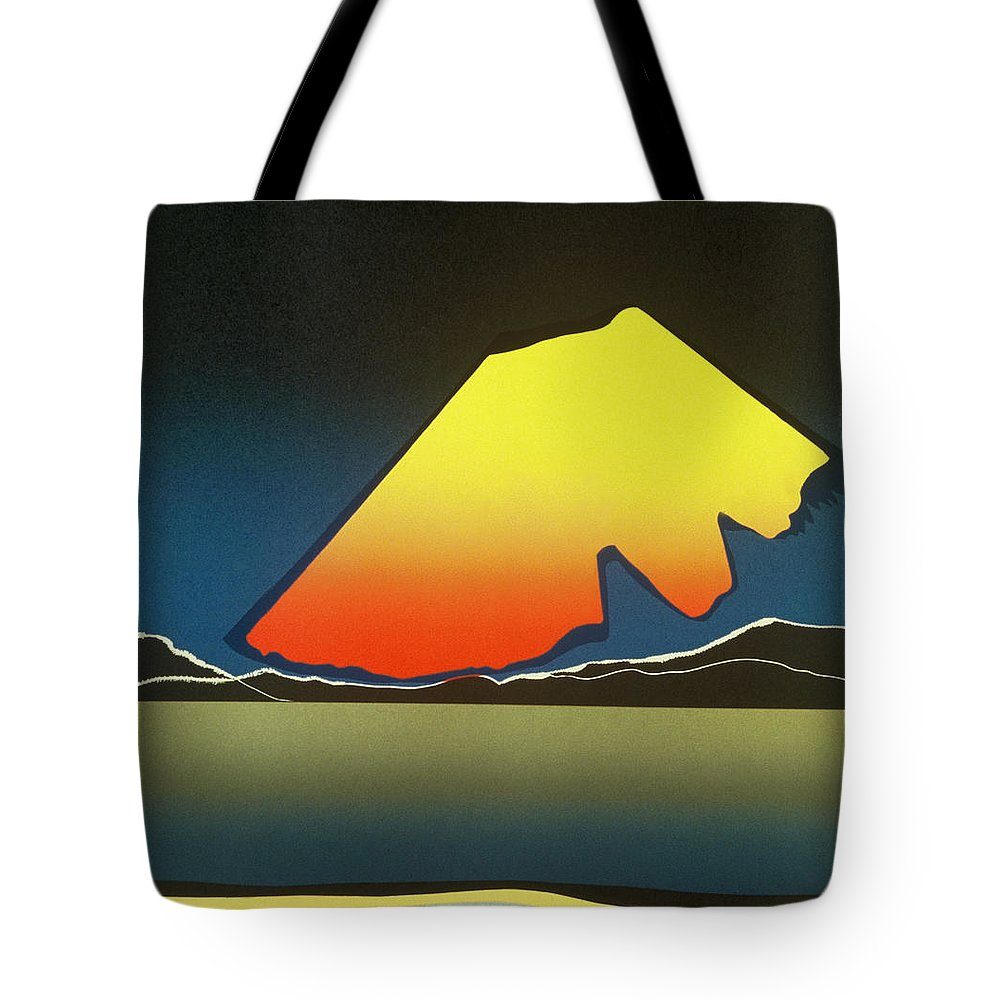 Landscape Tote Bag featuring the mixed media Northern Light. by Jarle Rosseland