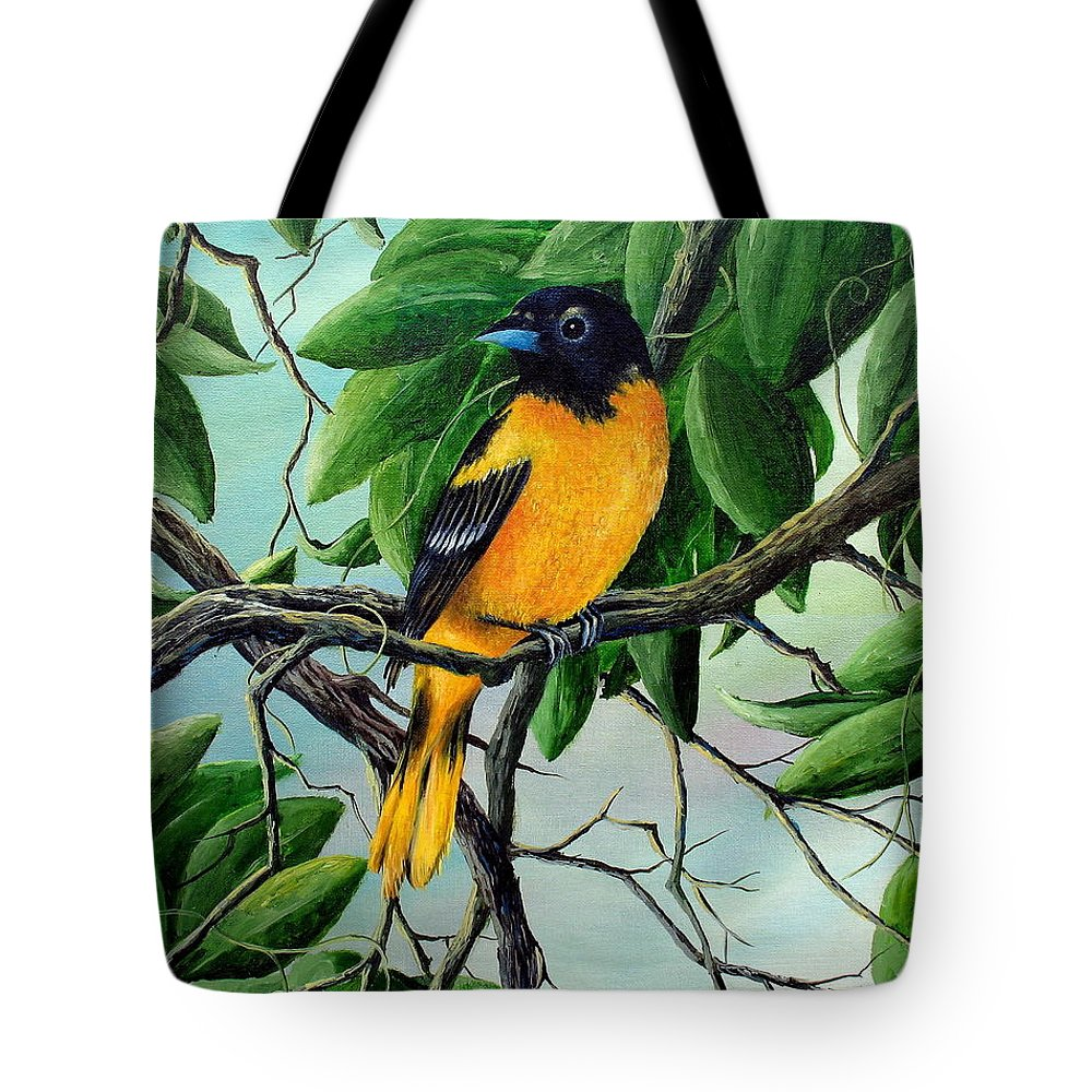 Oriole Tote Bag featuring the painting Northern Oriole by David G Paul