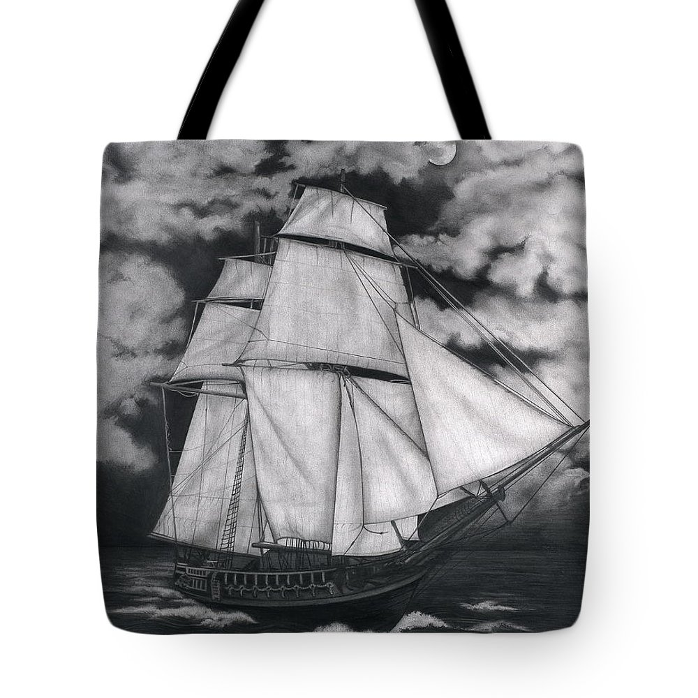 Ship Sailing Into The Northern Winds Tote Bag featuring the drawing Northern Winds by Larry Lehman