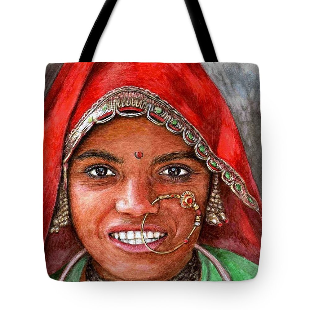 Woma Tote Bag featuring the painting Northindian Woman by Nicole Zeug