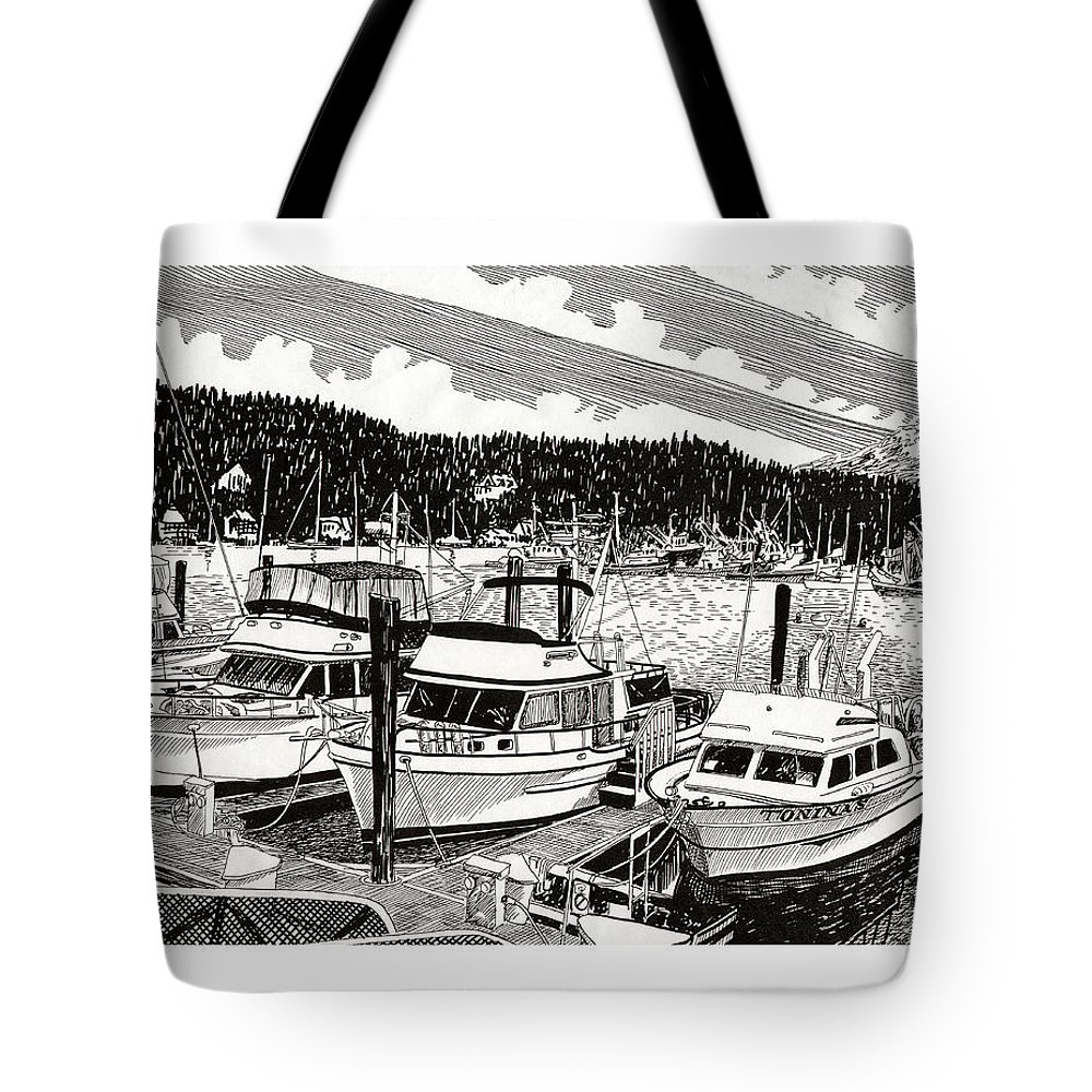 Yacht Portraits Tote Bag featuring the drawing Gig Harbor Yacht Moorage by Jack Pumphrey