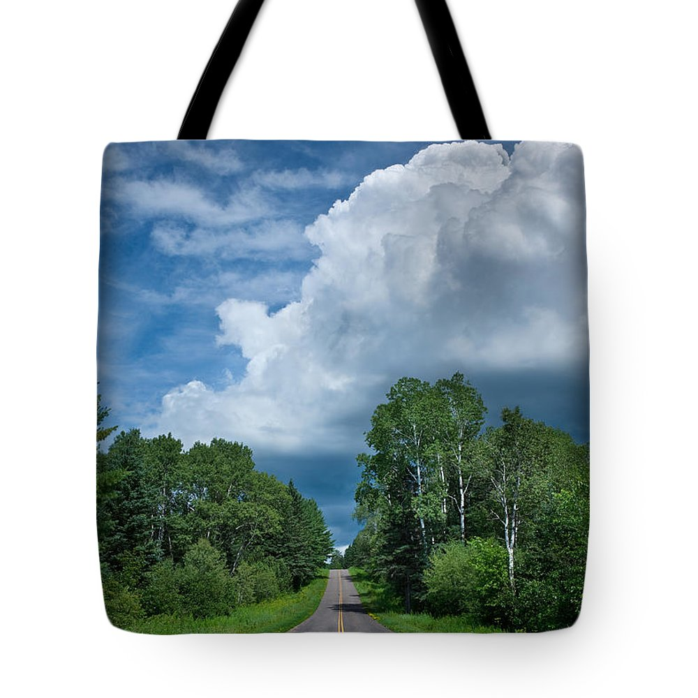 Cloud Tote Bag featuring the photograph Northwoods Road Trip by Steve Gadomski