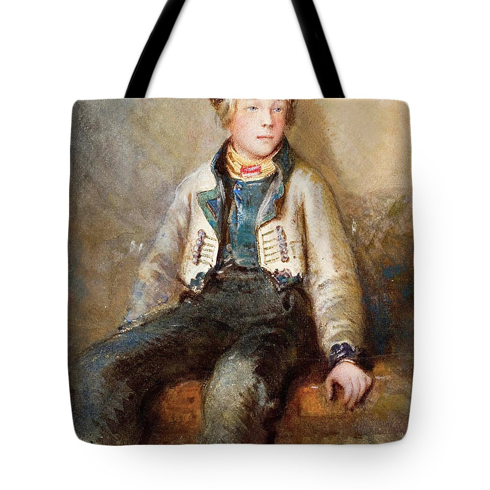 Egron Sellif Lundgren Tote Bag featuring the drawing Norwegian Boy by Egron Sellif Lundgren