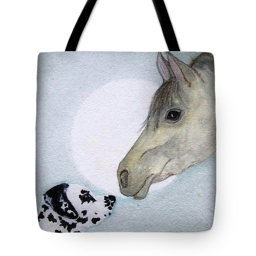Dog Tote Bag featuring the painting Nose 2 Nose by Jacki McGovern