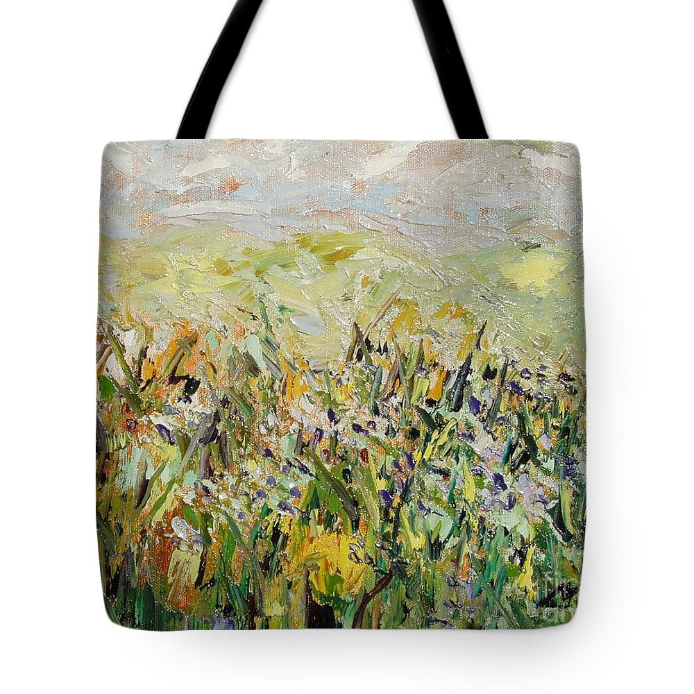 Field Paintings Tote Bag featuring the painting Nose Hill by Seon-Jeong Kim