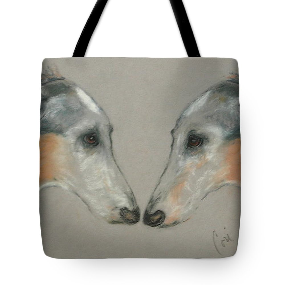 Dog Tote Bag featuring the drawing Nose To Nose by Cori Solomon