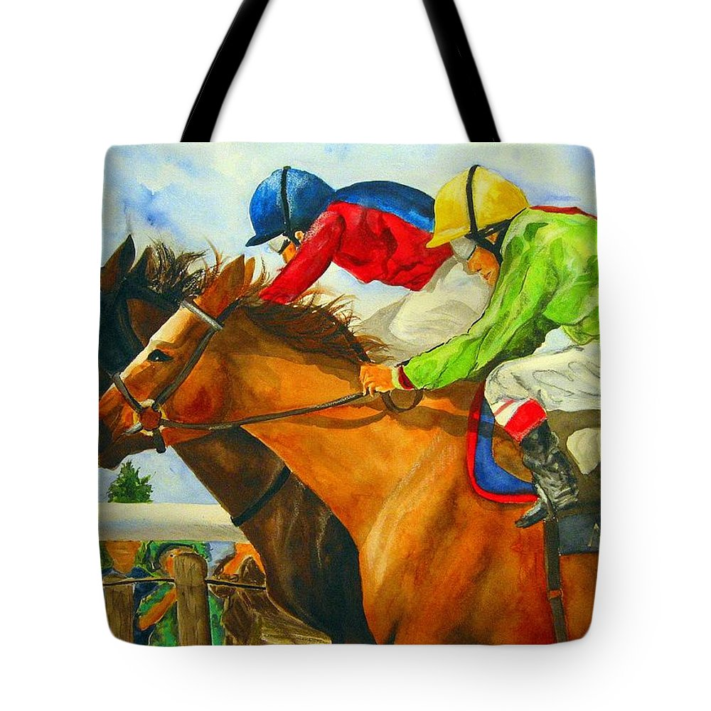 Horse Tote Bag featuring the painting Nose to Nose by Jean Blackmer