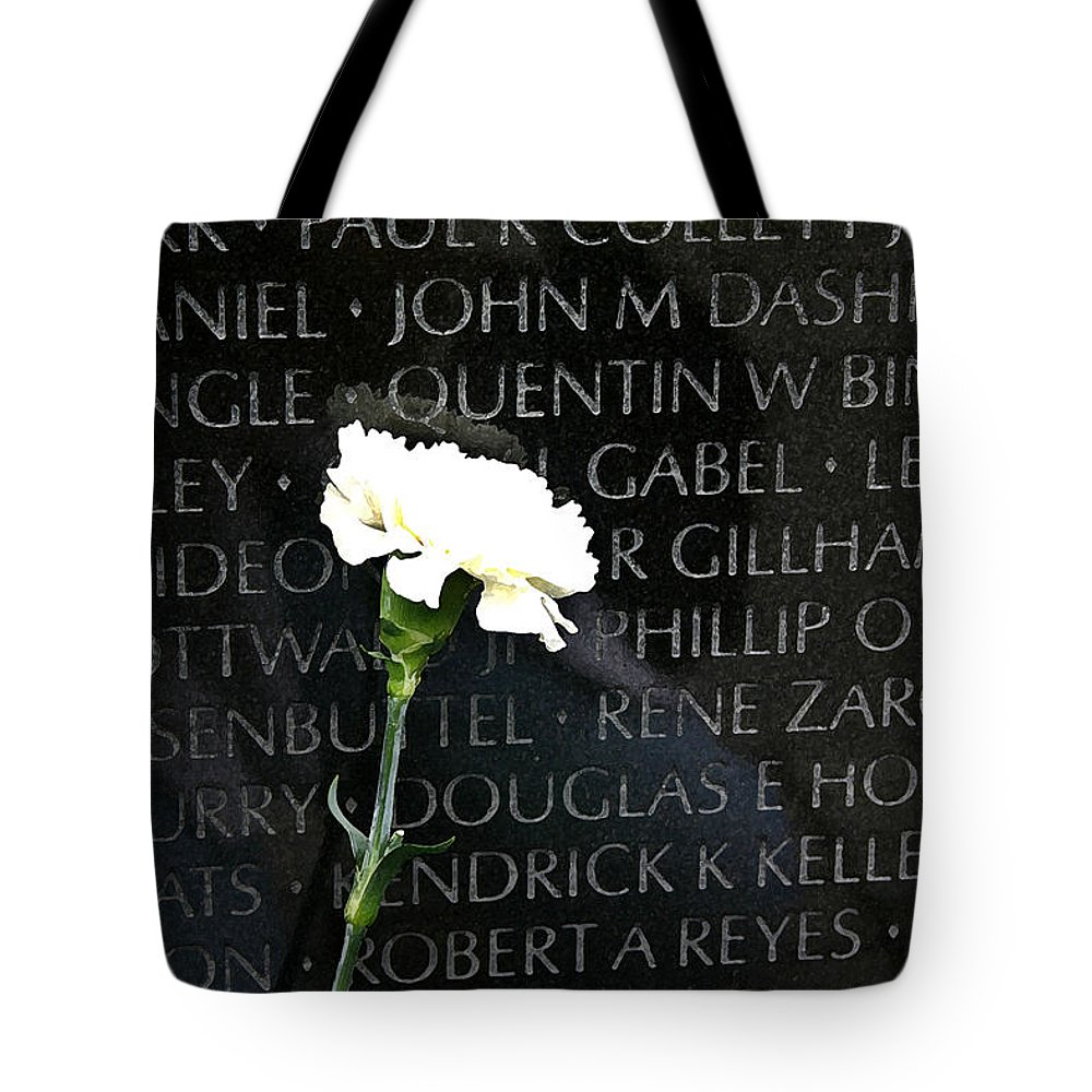 Vietnam Memorial Tote Bag featuring the photograph Not Forgotten by Mary Haber