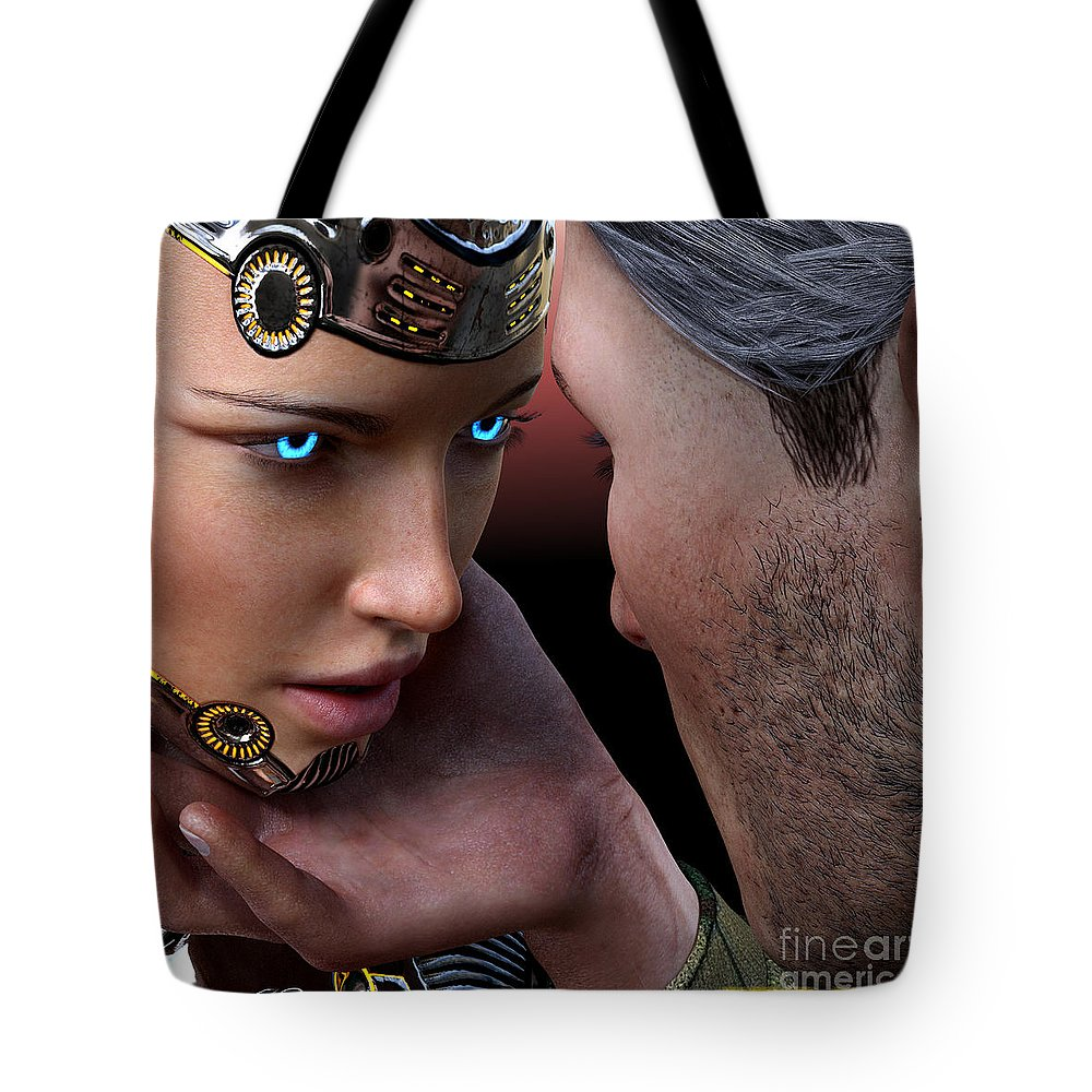 Female Tote Bag featuring the digital art Not I, But We. by Michael Ruffino