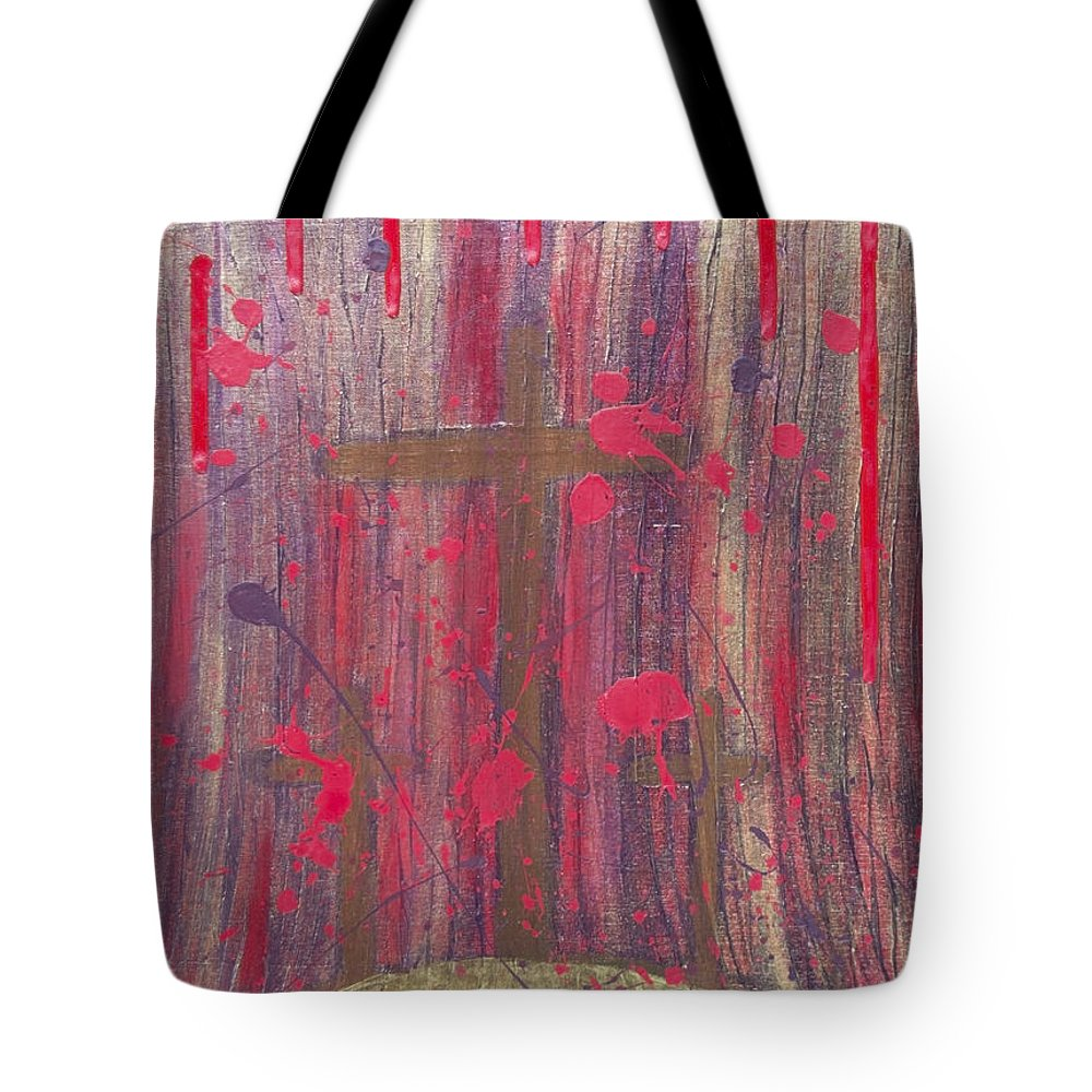 Jesus Tote Bag featuring the painting Not In Vain by Angelina Vick
