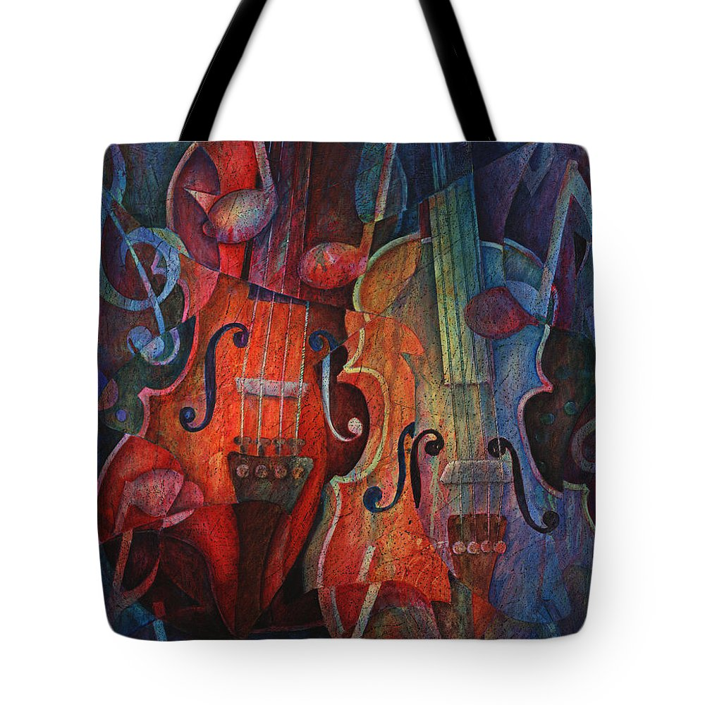 Susanne Clark Tote Bag featuring the painting Noteworthy - A Viola Duo by Susanne Clark