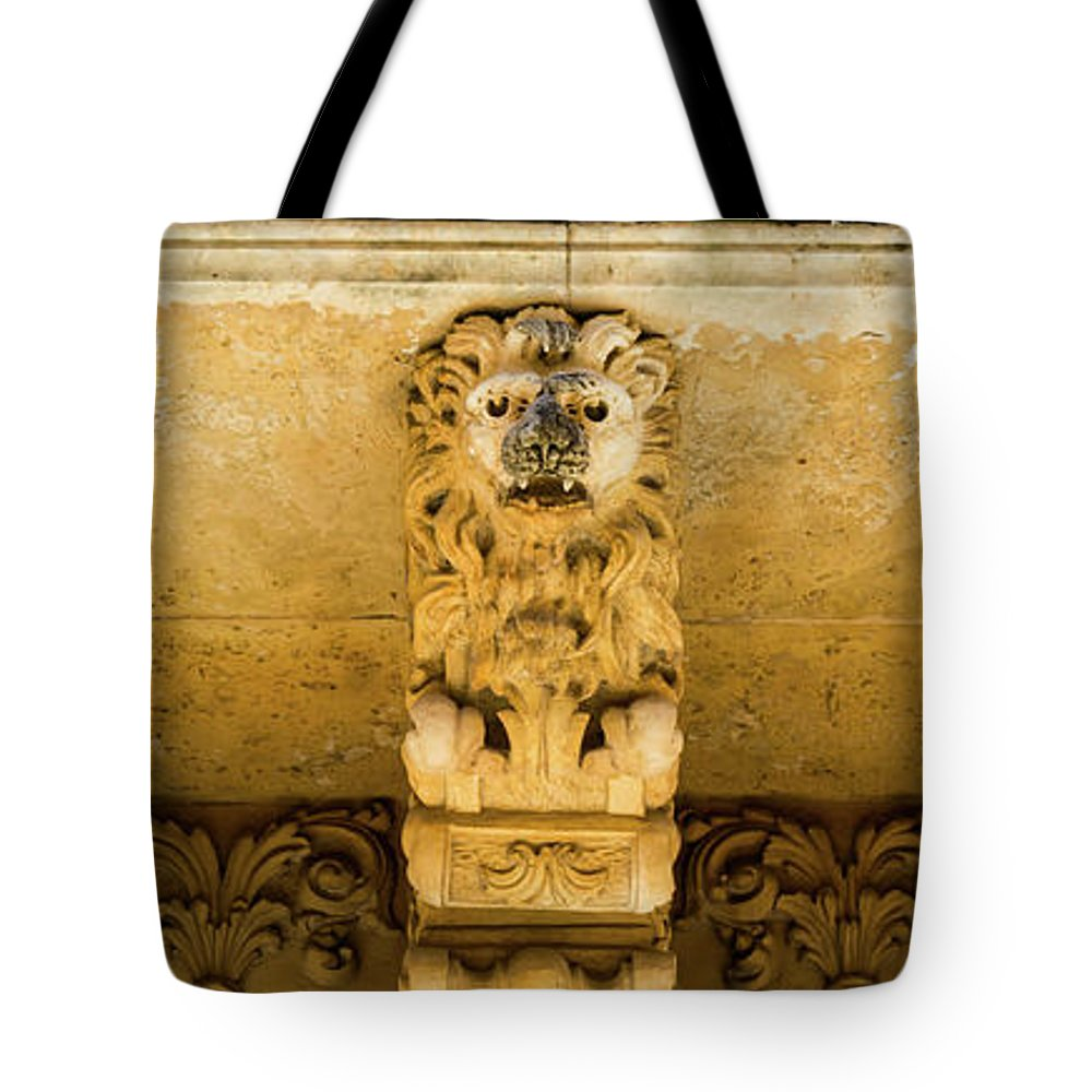Aged Tote Bag featuring the photograph Noto, Italy - Detail Of Baroque Balcony, 1750 by Paolo Modena