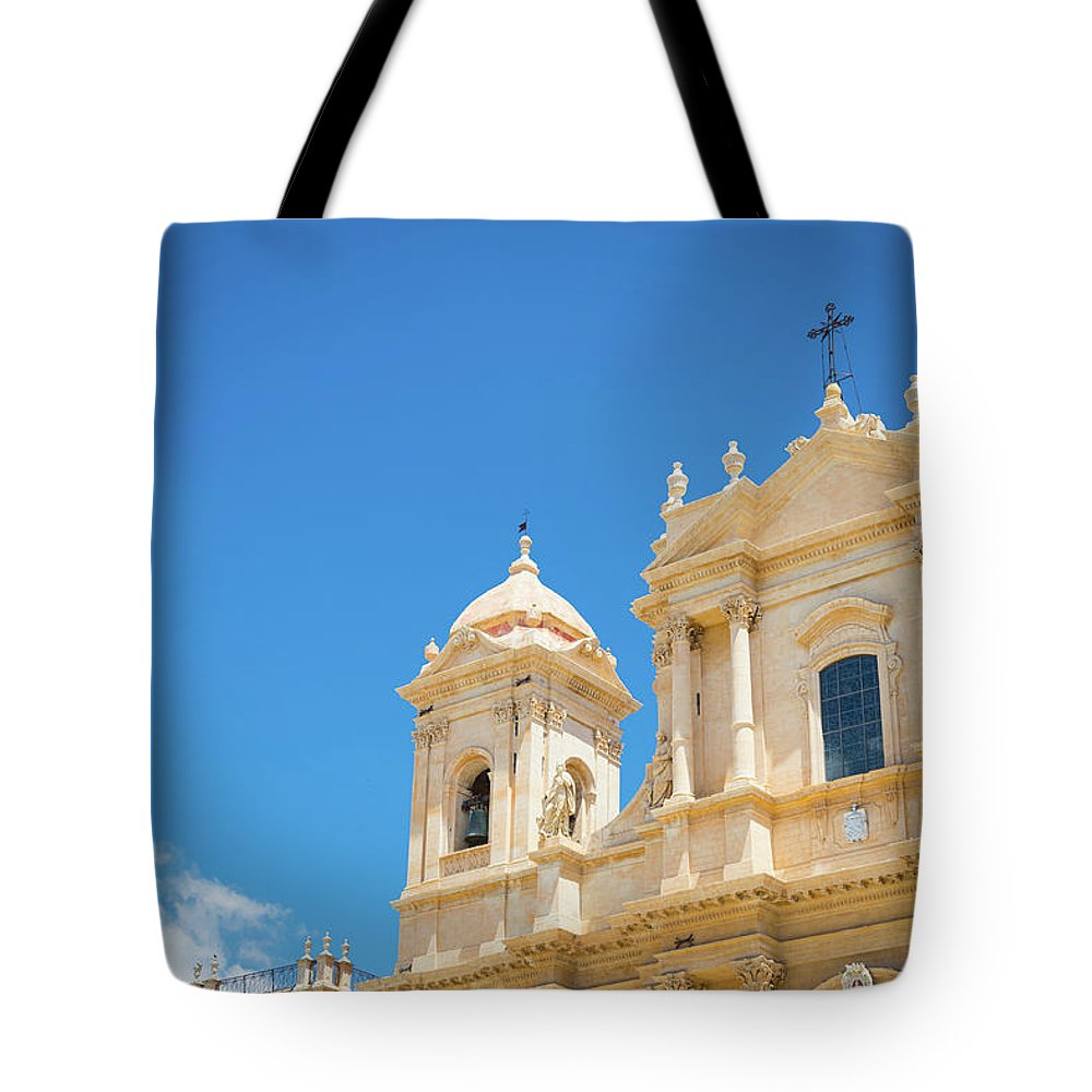 Architecture Tote Bag featuring the photograph Noto, Sicily, Italy - San Nicolo Cathedral, Unesco Heritage Site by Paolo Modena