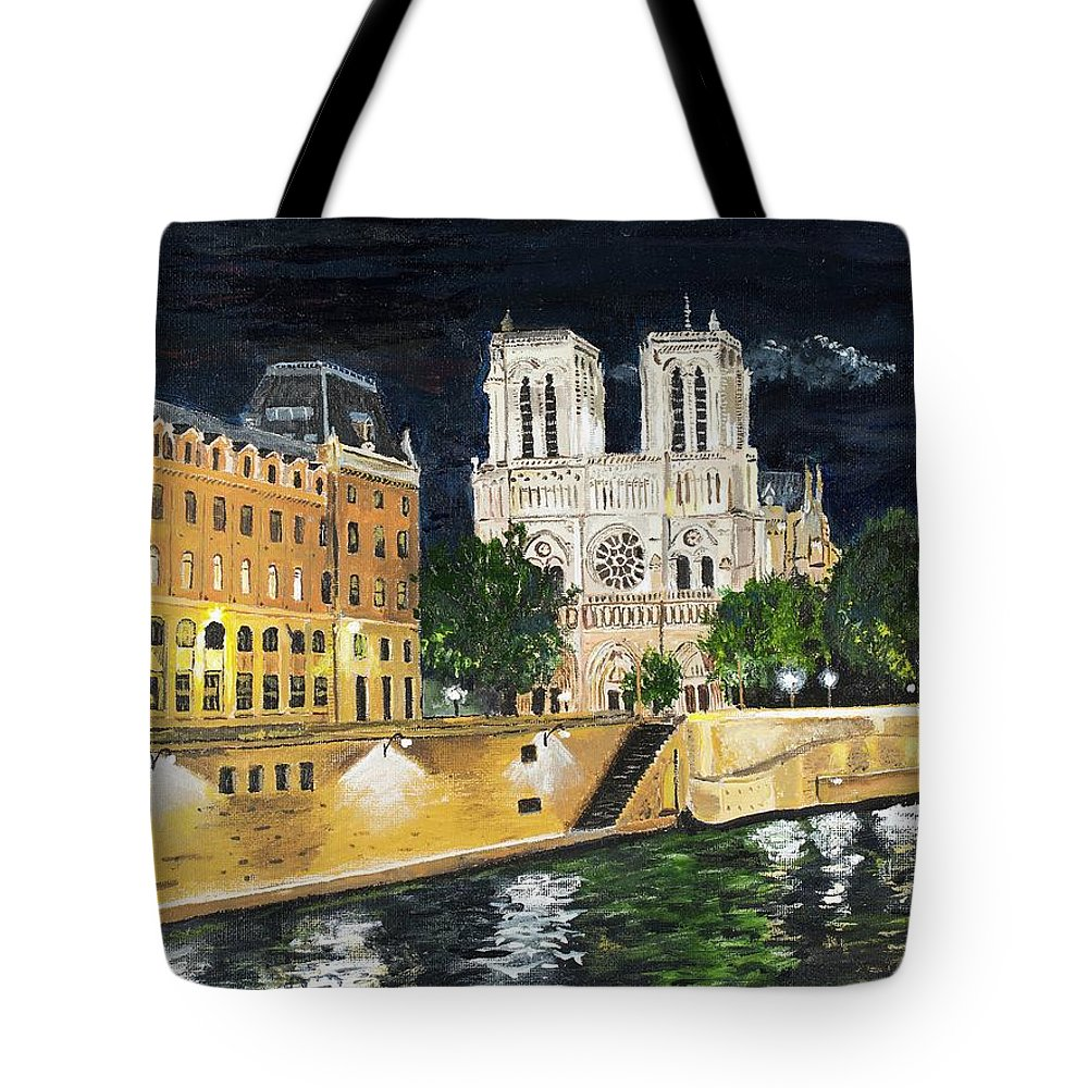 Notre Dame Tote Bag featuring the painting Notre Dame by Bruce Schmalfuss