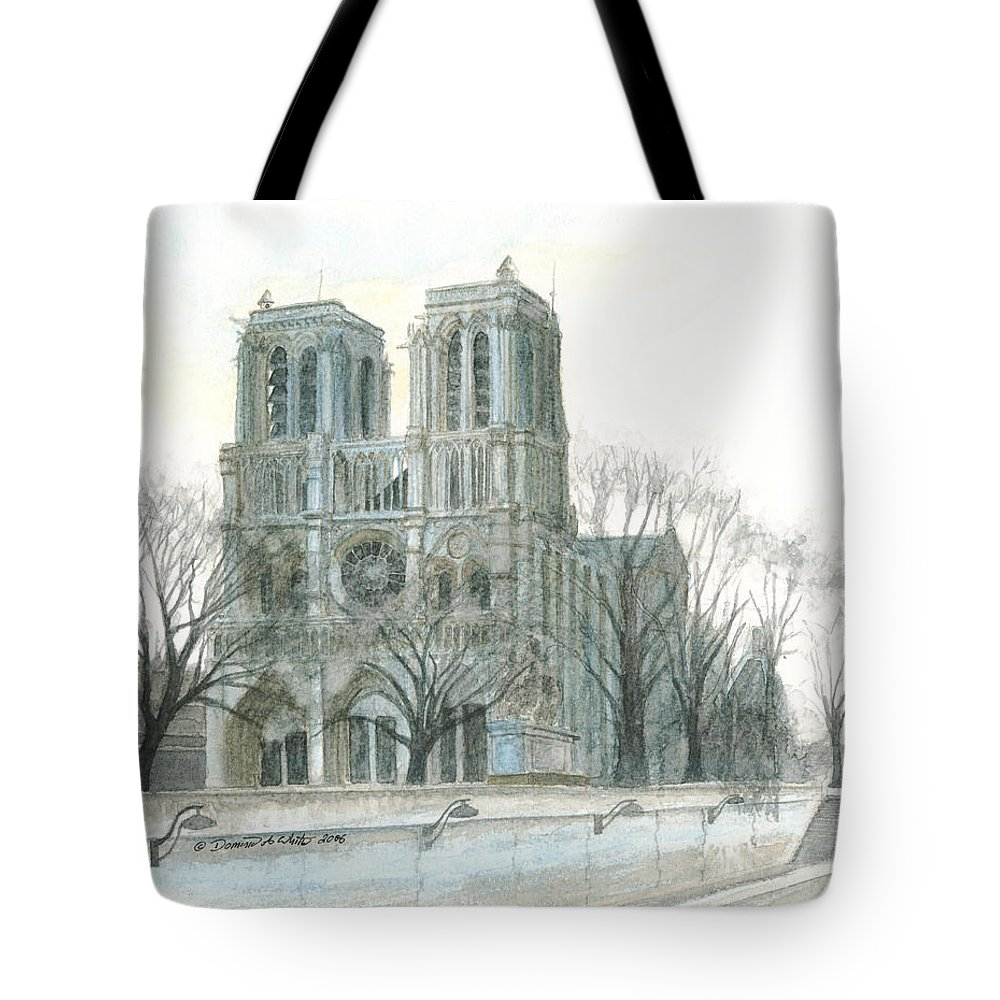 Notre Dame Tote Bag featuring the painting Notre Dame Cathedral In March by Dominic White