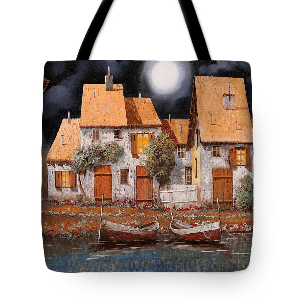 Houses Tote Bag featuring the painting Notte Di Luna Piena by Guido Borelli