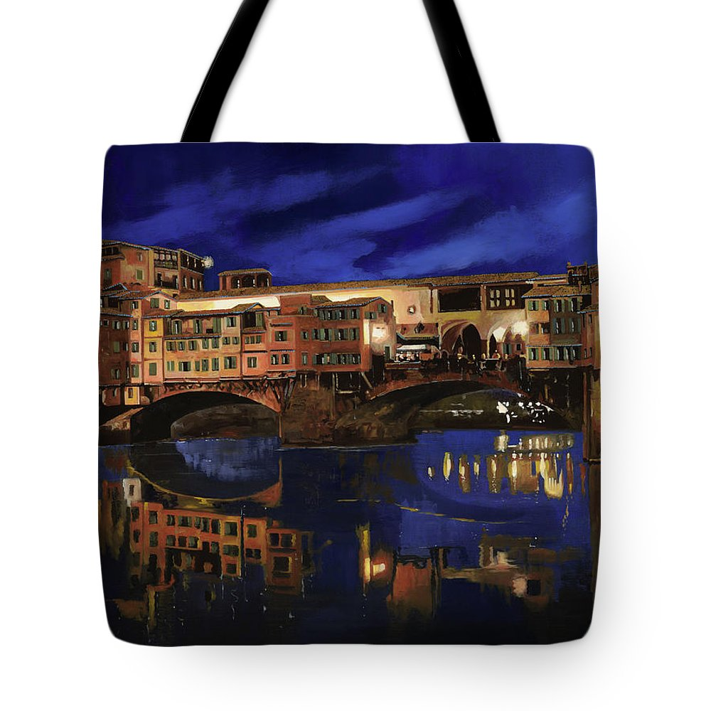 Firenze Tote Bag featuring the painting Notturno Fiorentino by Guido Borelli
