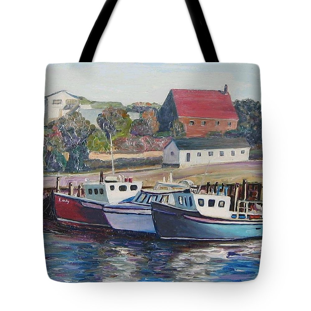 Nova Scotia Tote Bag featuring the painting Nova Scotia Boats by Richard Nowak