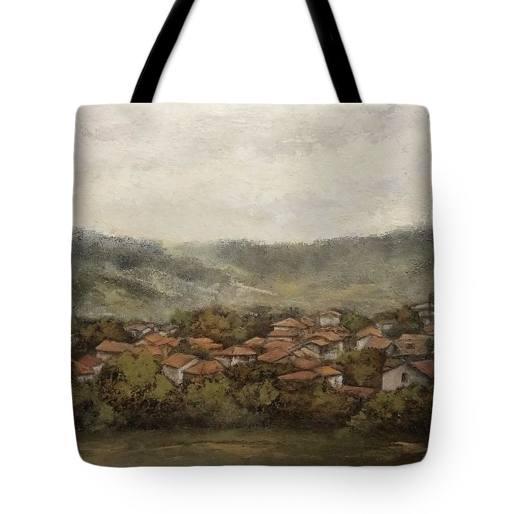 Cantabria Tote Bag featuring the painting Novales-Cantabria by Tomas Castano