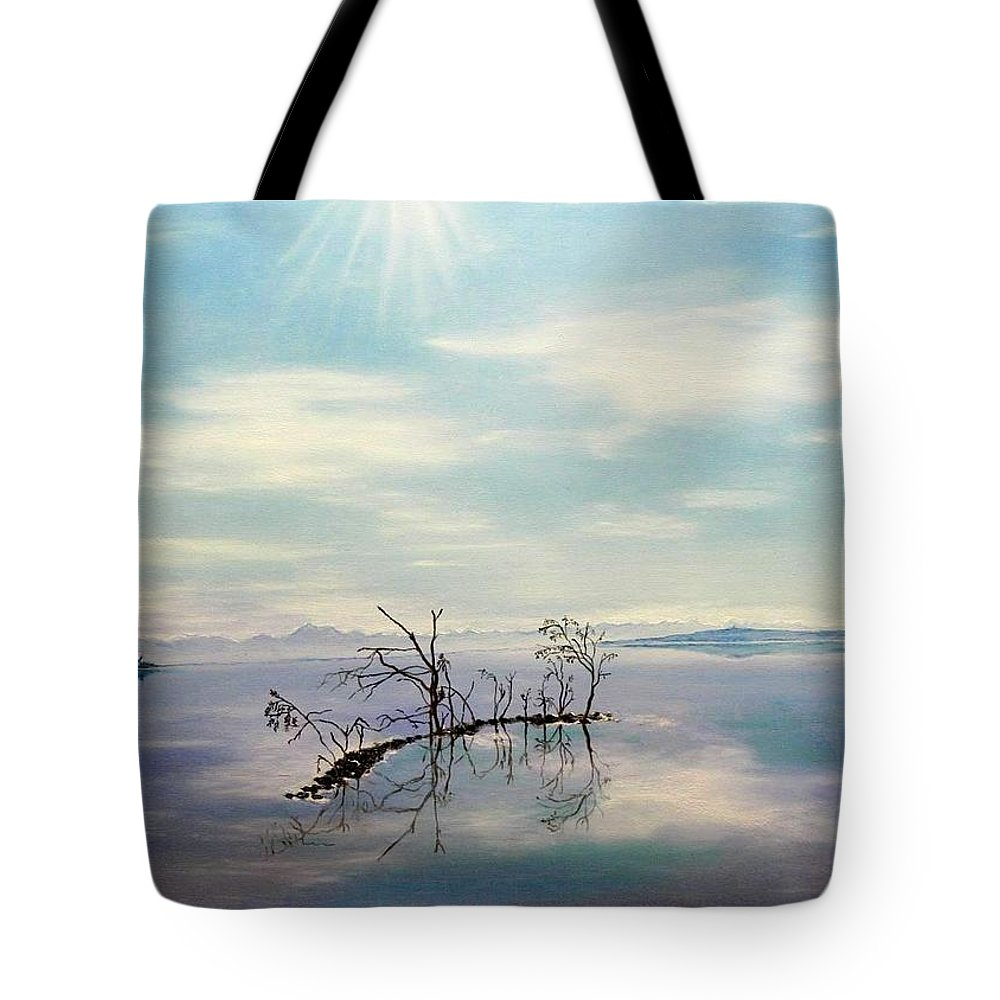 Late Novemeber In Bavaria Tote Bag featuring the painting November On A Bavarian Lake by Helmut Rottler
