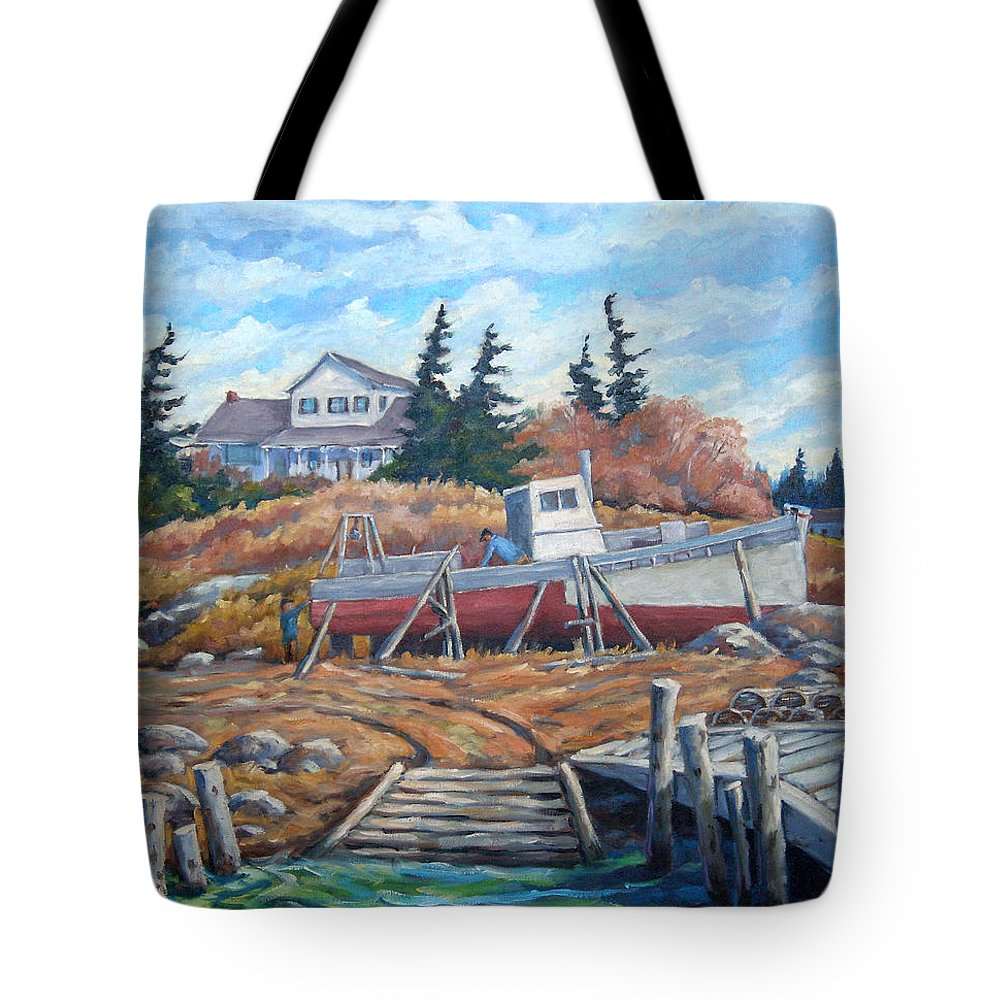 Boat Tote Bag featuring the painting Novia Scotia by Richard T Pranke