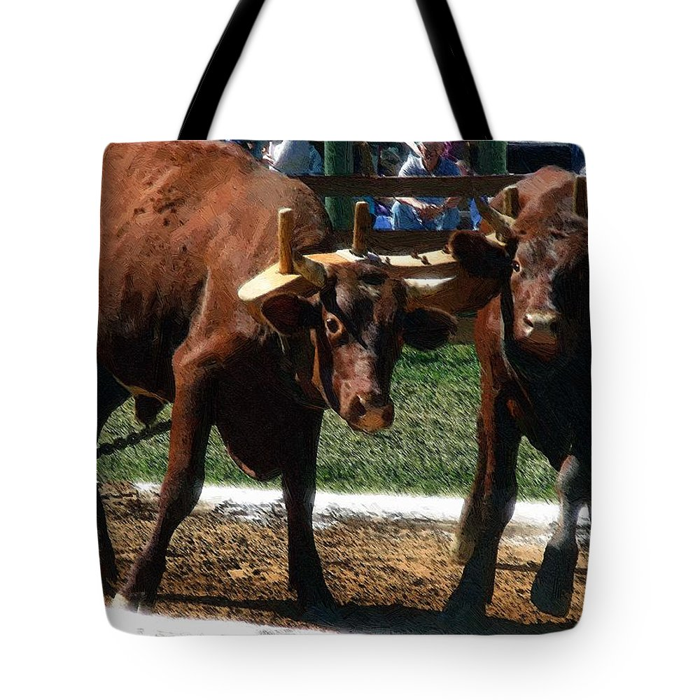 Oxen Tote Bag featuring the painting Now What by RC DeWinter