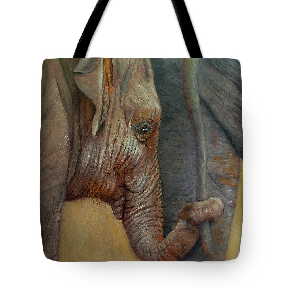 Africa Tote Bag featuring the painting Now You Hold On Tight by Ceci Watson