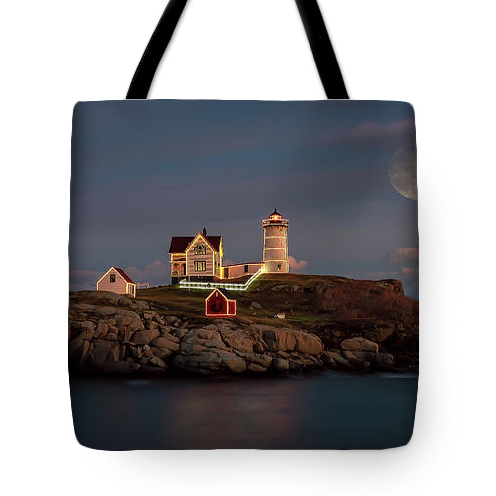 Maine Tote Bag featuring the photograph Nubble Light Full Moon by Stan Dzugan