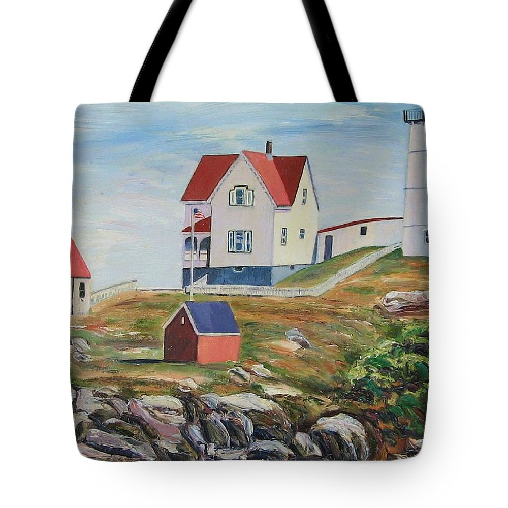 Nubble Light House Tote Bag featuring the painting Nubble Light House Maine by Richard Nowak