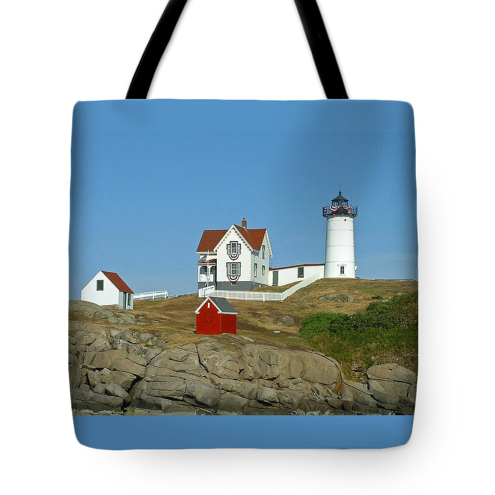 Nubble Tote Bag featuring the photograph Nubble Light by Margie Wildblood
