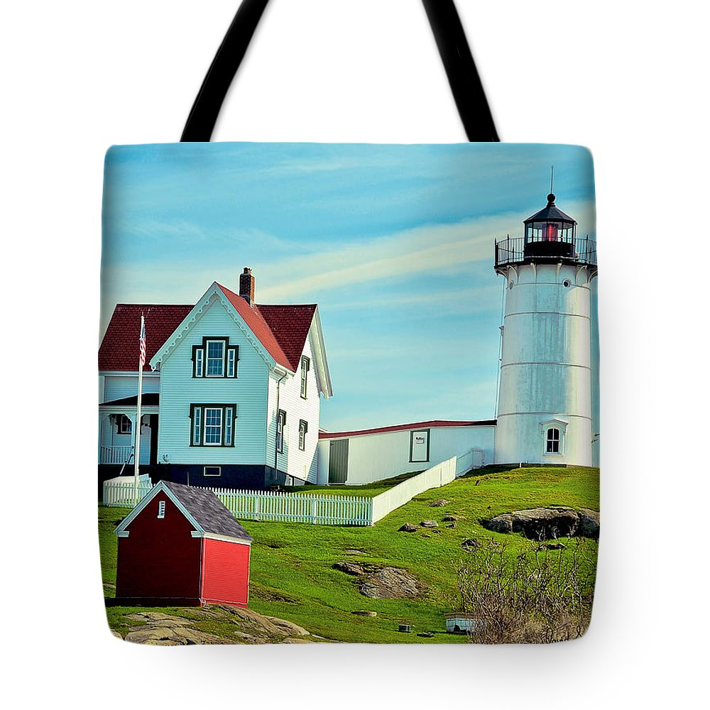 Nubble Lighthouse Tote Bag featuring the photograph Nubble Lighthouse II by David Simpson